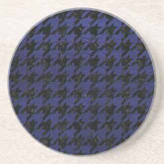 HOUNDSTOOTH1 BLACK MARBLE & BLUE LEATHER COASTER
