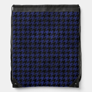 HOUNDSTOOTH1 BLACK MARBLE & BLUE LEATHER DRAWSTRING BAG
