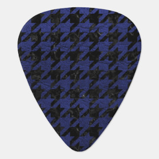 HOUNDSTOOTH1 BLACK MARBLE & BLUE LEATHER GUITAR PICK
