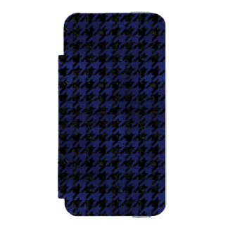 HOUNDSTOOTH1 BLACK MARBLE & BLUE LEATHER INCIPIO WATSON™ iPhone 5 WALLET CASE