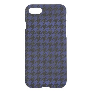 HOUNDSTOOTH1 BLACK MARBLE & BLUE LEATHER iPhone 7 CASE