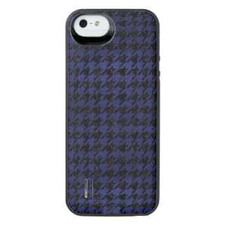 HOUNDSTOOTH1 BLACK MARBLE & BLUE LEATHER iPhone SE/5/5s BATTERY CASE