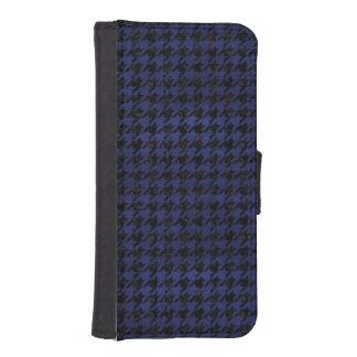 HOUNDSTOOTH1 BLACK MARBLE & BLUE LEATHER iPhone SE/5/5s WALLET CASE
