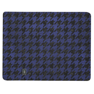 HOUNDSTOOTH1 BLACK MARBLE & BLUE LEATHER JOURNAL