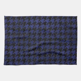 HOUNDSTOOTH1 BLACK MARBLE & BLUE LEATHER KITCHEN TOWEL