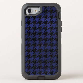 HOUNDSTOOTH1 BLACK MARBLE & BLUE LEATHER OtterBox DEFENDER iPhone 8/7 CASE