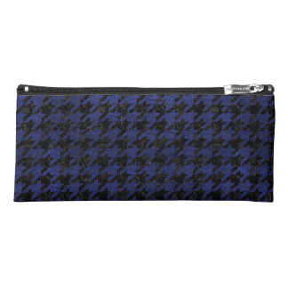 HOUNDSTOOTH1 BLACK MARBLE & BLUE LEATHER PENCIL CASE