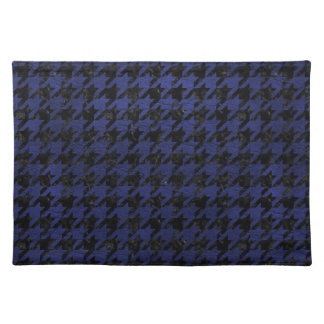 HOUNDSTOOTH1 BLACK MARBLE & BLUE LEATHER PLACEMAT