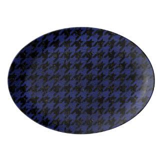 HOUNDSTOOTH1 BLACK MARBLE & BLUE LEATHER PORCELAIN SERVING PLATTER