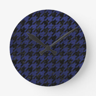 HOUNDSTOOTH1 BLACK MARBLE & BLUE LEATHER ROUND CLOCK