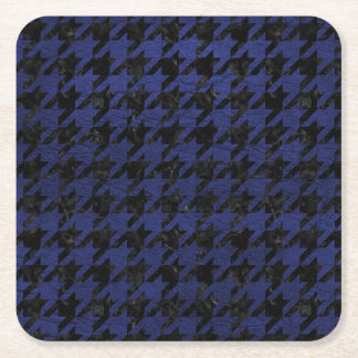 HOUNDSTOOTH1 BLACK MARBLE & BLUE LEATHER SQUARE PAPER COASTER