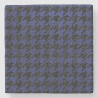 HOUNDSTOOTH1 BLACK MARBLE & BLUE LEATHER STONE COASTER