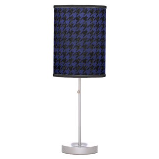 HOUNDSTOOTH1 BLACK MARBLE & BLUE LEATHER TABLE LAMP