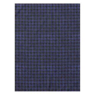 HOUNDSTOOTH1 BLACK MARBLE & BLUE LEATHER TABLECLOTH