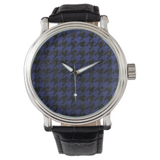 HOUNDSTOOTH1 BLACK MARBLE & BLUE LEATHER WATCH