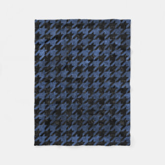 HOUNDSTOOTH1 BLACK MARBLE & BLUE STONE FLEECE BLANKET