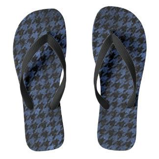 HOUNDSTOOTH1 BLACK MARBLE & BLUE STONE FLIP FLOPS