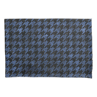 HOUNDSTOOTH1 BLACK MARBLE & BLUE STONE PILLOWCASE