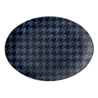HOUNDSTOOTH1 BLACK MARBLE & BLUE STONE PORCELAIN SERVING PLATTER