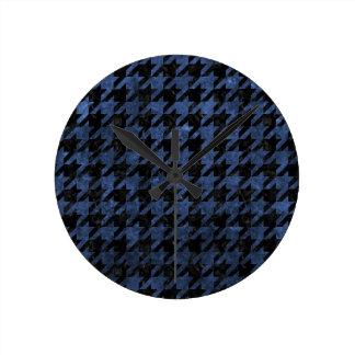 HOUNDSTOOTH1 BLACK MARBLE & BLUE STONE ROUND CLOCK