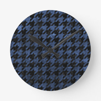 HOUNDSTOOTH1 BLACK MARBLE & BLUE STONE WALL CLOCK