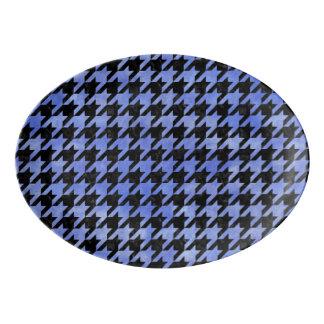 HOUNDSTOOTH1 BLACK MARBLE & BLUE WATERCOLOR PORCELAIN SERVING PLATTER