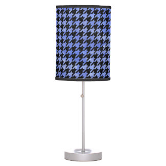 HOUNDSTOOTH1 BLACK MARBLE & BLUE WATERCOLOR TABLE LAMP