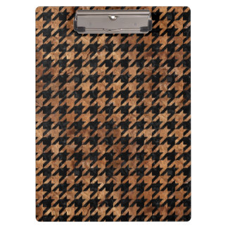 HOUNDSTOOTH1 BLACK MARBLE & BROWN STONE CLIPBOARD