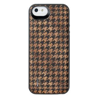 HOUNDSTOOTH1 BLACK MARBLE & BROWN STONE iPhone SE/5/5s BATTERY CASE