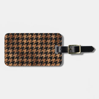 HOUNDSTOOTH1 BLACK MARBLE & BROWN STONE LUGGAGE TAG