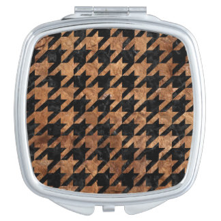 HOUNDSTOOTH1 BLACK MARBLE & BROWN STONE TRAVEL MIRRORS