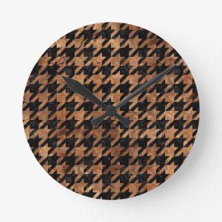 HOUNDSTOOTH1 BLACK MARBLE & BROWN STONE WALLCLOCK