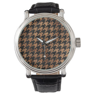 HOUNDSTOOTH1 BLACK MARBLE & BROWN STONE WATCH