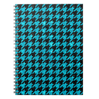 HOUNDSTOOTH1 BLACK MARBLE & TURQUOISE MARBLE NOTEBOOKS