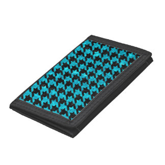 HOUNDSTOOTH1 BLACK MARBLE & TURQUOISE MARBLE TRIFOLD WALLET