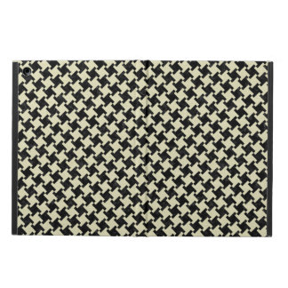 HOUNDSTOOTH2 BLACK MARBLE & BEIGE LINEN CASE FOR iPad AIR