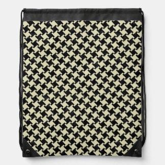 HOUNDSTOOTH2 BLACK MARBLE & BEIGE LINEN DRAWSTRING BAG