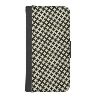 HOUNDSTOOTH2 BLACK MARBLE & BEIGE LINEN iPhone SE/5/5s WALLET CASE