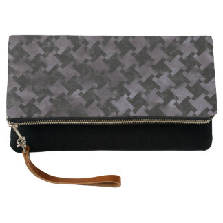 HOUNDSTOOTH2 BLACK MARBLE & BLACK WATERCOLOR CLUTCH