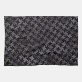HOUNDSTOOTH2 BLACK MARBLE & BLACK WATERCOLOR KITCHEN TOWEL