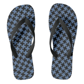 HOUNDSTOOTH2 BLACK MARBLE & BLUE DENIM FLIP FLOPS