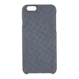 HOUNDSTOOTH2 BLACK MARBLE & BLUE GRUNGE CLEAR iPhone 6/6S CASE