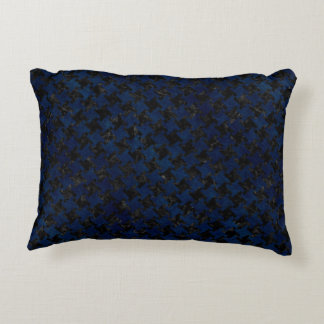 HOUNDSTOOTH2 BLACK MARBLE & BLUE GRUNGE DECORATIVE PILLOW