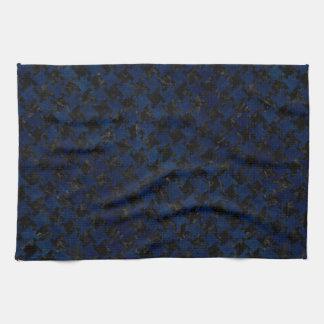 HOUNDSTOOTH2 BLACK MARBLE & BLUE GRUNGE KITCHEN TOWEL