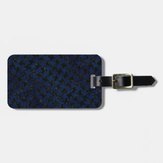 HOUNDSTOOTH2 BLACK MARBLE & BLUE GRUNGE LUGGAGE TAG