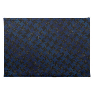 HOUNDSTOOTH2 BLACK MARBLE & BLUE GRUNGE PLACEMAT