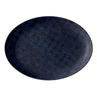 HOUNDSTOOTH2 BLACK MARBLE & BLUE GRUNGE PORCELAIN SERVING PLATTER