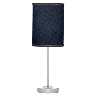 HOUNDSTOOTH2 BLACK MARBLE & BLUE GRUNGE TABLE LAMP