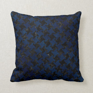 HOUNDSTOOTH2 BLACK MARBLE & BLUE GRUNGE THROW PILLOW