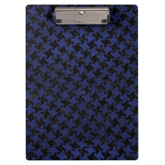 HOUNDSTOOTH2 BLACK MARBLE & BLUE LEATHER CLIPBOARD